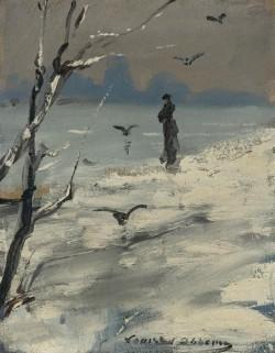 Elegant Woman on a Winter's Walk, Louise Abbema