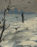 Elegant Woman on a Winter's Walk, Louise Abbema