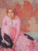 Girl in pink dress, Edmond Francois Aman-Jean