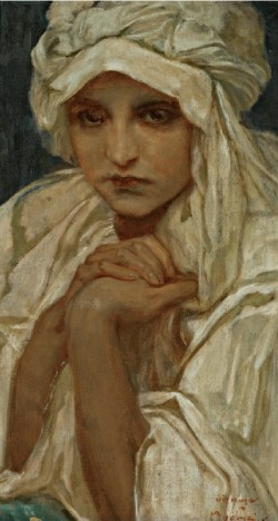 Portrait of a girl, Alphonse Mucha