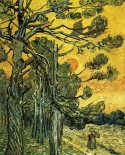 Pine trees against an evening sky Vincent van Gogh