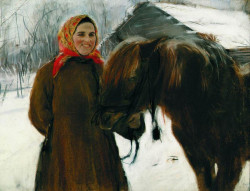 in a village peasant woman with a horse 1898 XX the tretyakov gallery moscow russia