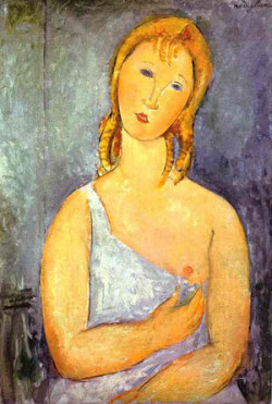 girl in a white chemise 1918 XX private collection