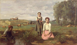 Children at the Edge of a Stream in the Countryside near Lormes 1840 1843