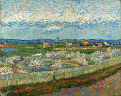 La crau with peach trees in blossom 1889 xx courtauld insitute galleries london