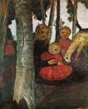 Three children with goat in the birch forest, 1904