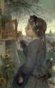Girl feeding her bird in a cage, 1867
