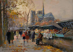 Booksellers Along The Seine With A View Of Notre Dame
