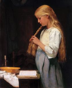Girl braiding her hair, 1887
