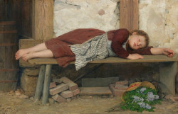 Sleeping Girl on a Wooden Bench