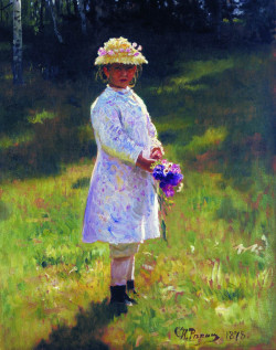 girl with flowers daughter of the artist, 1878