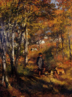 Young man walking with dogs in fontainebleau, 1866