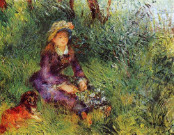 A woman with a dog portrait of madame renoir 1880 xx private collection