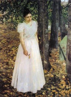 autumn young woman in a garden 1890 1891 the art museum of nizhniy novgorod nizhniy novgorod russia