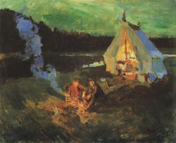 hunters tent 1911 kustodiev regional picture gallery astrakhan russia