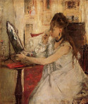 Young woman powdering her face, 1877