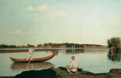 fishermen a view in the estate of spasskoe 1840s XX the russian museum st petersburg russia