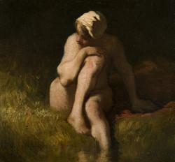 Naked peasant girl at the river