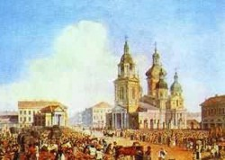 Sennaya square in st petersburg 1821 1826 xx lithograph