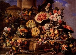Still Life Of Fruit And Flowers On A Stone Ledge With Birds And A Monkey