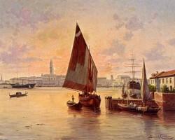Francois Un Soleil Couchant A Venise