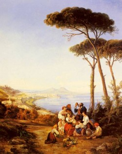 A Group Of Peasants With The Bay Naples Beyond