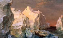 Edwin Icebergs and Wreck in Sunset