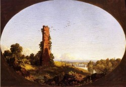 K edwin new england landscape with ruined chimney
